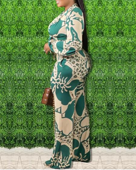 Plus Size Floral Cheetah Print Long Sleeve Shirt & Wide Leg Pants Set