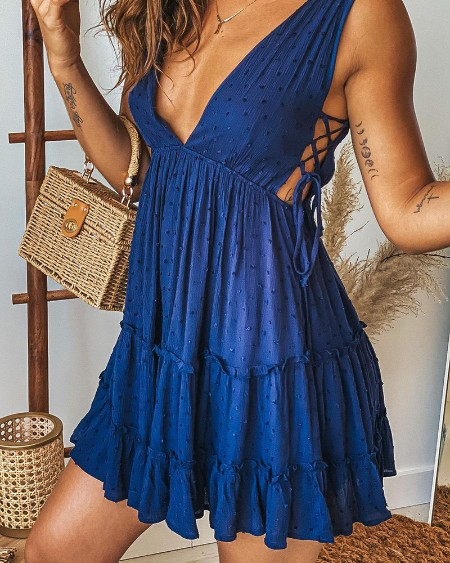 Plain V Neck Eyelet Hollow Out Lace Up Ruched Sleeveless Dress