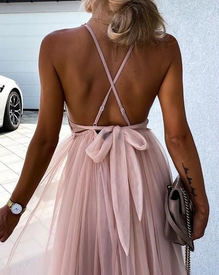 Crisscross Backless Lace Patch Mesh Prom Dress