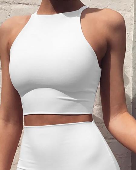 Sleeveless Crop Top & Midi Skirt Set Solid Color Mid-Length Skirt slim Two-Piece Vest Skirt