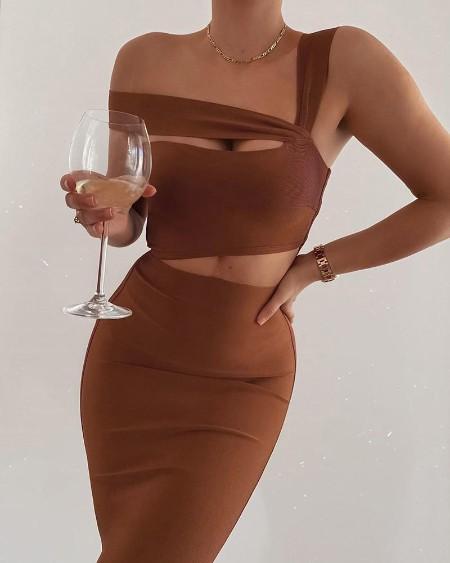 Plian One Shoulder Cutout Dress