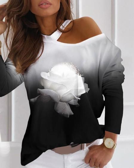 Women's Cold Shoulder Floral Print Gradient Color Top