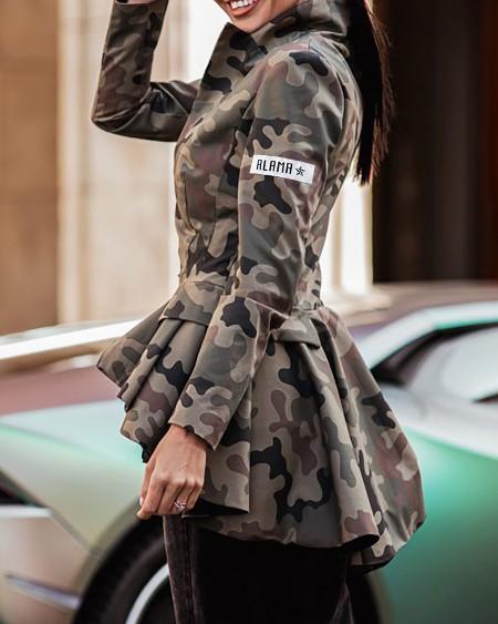 Camouflage Print Ruffles Zip Front Coat