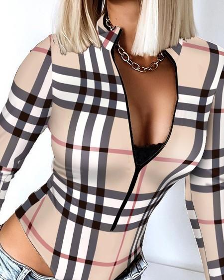Plaid Print Zipper Design Long Sleeve Skinny Bodysuit