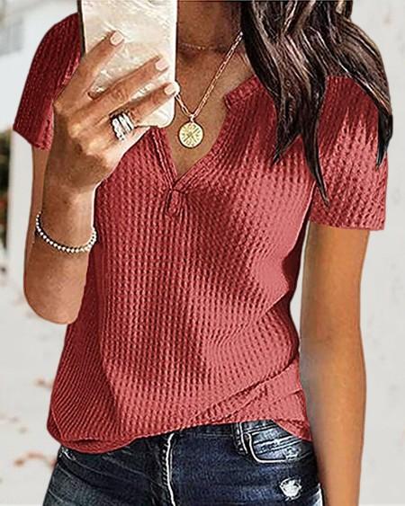 Plain Short Sleeve Knit T-Shirt