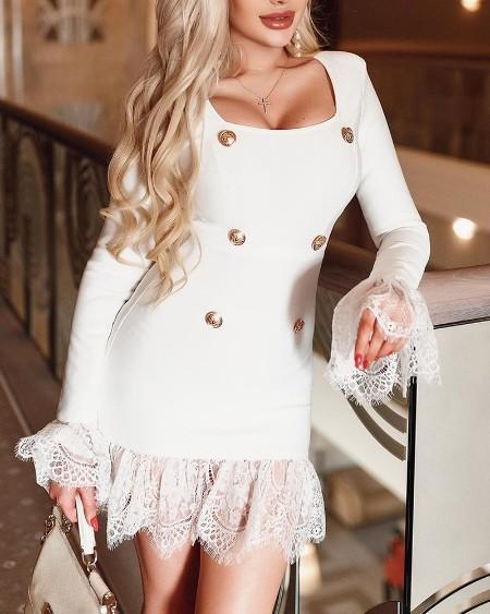 Contrast Lace Square Neck Button Decor Mini Dress