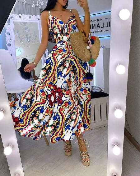 Tie Front Graphic Print Maxi Dress