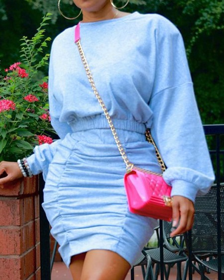 Lantern Sleeve Top & Ruched Skirt Set