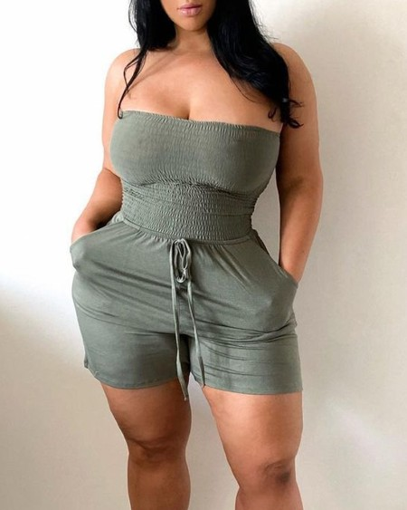 Solid Sleeveless Slim Lace-up Romper