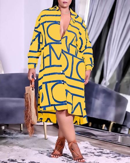 Plus Size Graphic Print Long Sleeve Shirt Dress