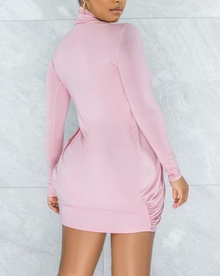 Asymmetrical Draped Detail Long Sleeve Mini Dress