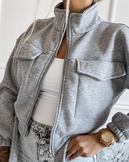 Long Sleeve Zip Up Pocket Design Coat