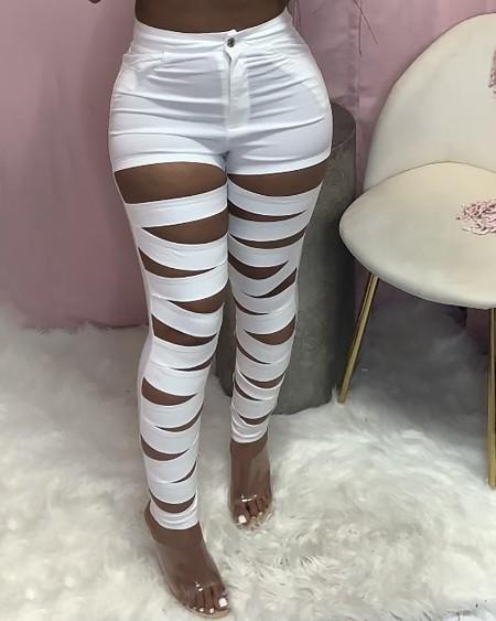 Cutout Single Button High Waisted Skinny Pants