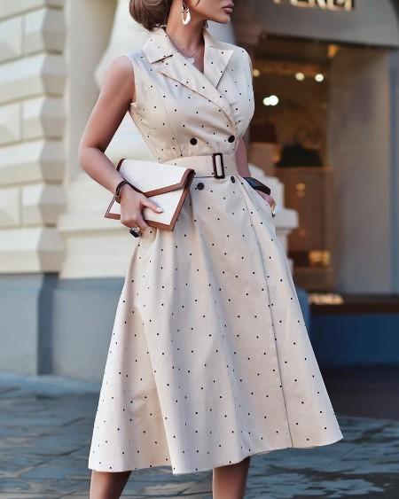 Polkadot Print Pocket Design Blazer Dress
