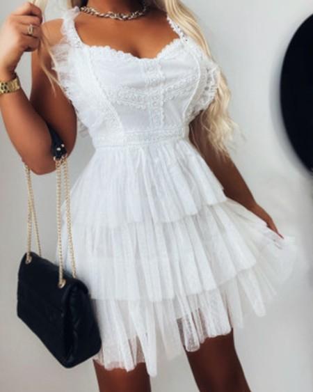 Contrast Lace Mesh Layered Mini Dress