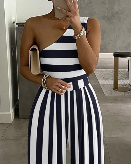 One Shoulder Striped Colorblock Jumpsuit