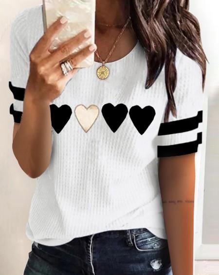 Ribbed Heart Print Colorblock Short Sleeve Top