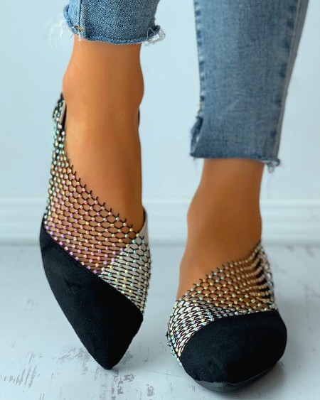 Colorblock Studded Patch Slip-On Shoes
