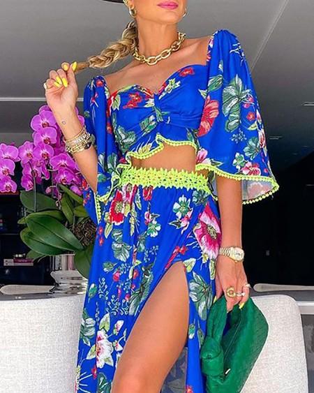 Floral Print Lace Patch Top & Slit Skirt Set