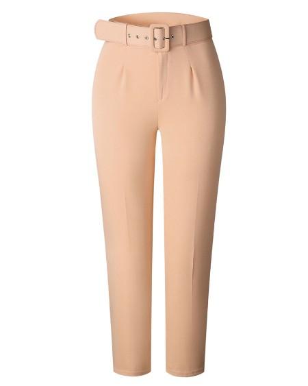 Pocket Design Solid Tailored Pants