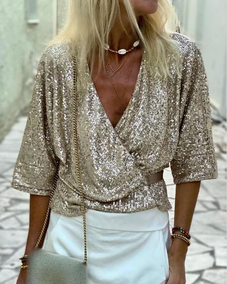 V Neck Half Sleeve Allover Sequins Wrap Top
