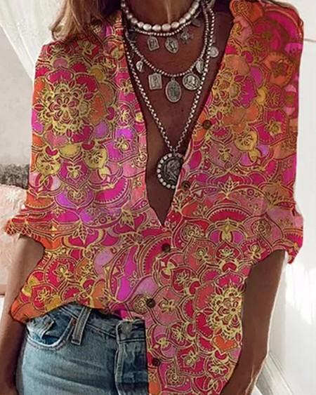 Floral Pattern Print Button Design Shirt