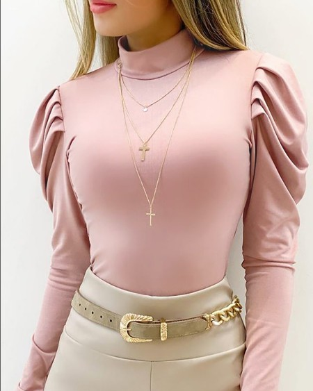 O Neck Ruched Gigot Sleeve Basic Top