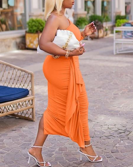 Plus Size One Shoulder Ruffle Decor Split Bodycon Dress