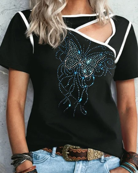 Rhinestone Butterfly Cut-out Short Sleeve T-shirt