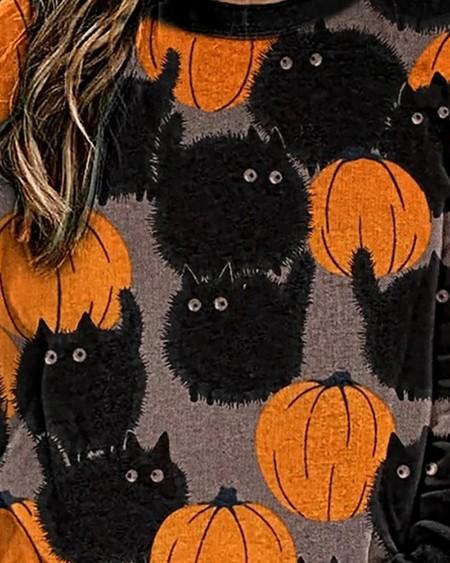Halloween Pumpkin Cat Print Colorblock Sweatshirt