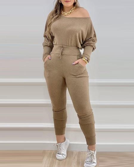 Long Sleeve Top & Pocket Design Drawstring Pants Set