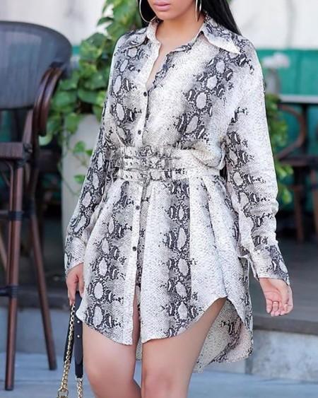 Long Sleeve Snakeskin Print Slit Shirt Dress With Belt