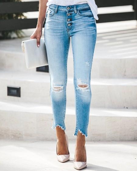 Buttoned Pocket Design Ripped Cutout Denim Pants