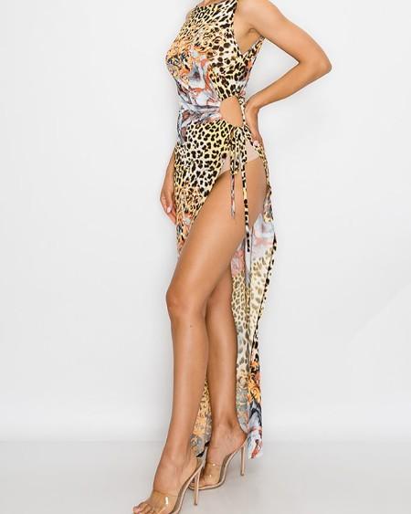 Animal Leopard Print High Slit Maxi Dress