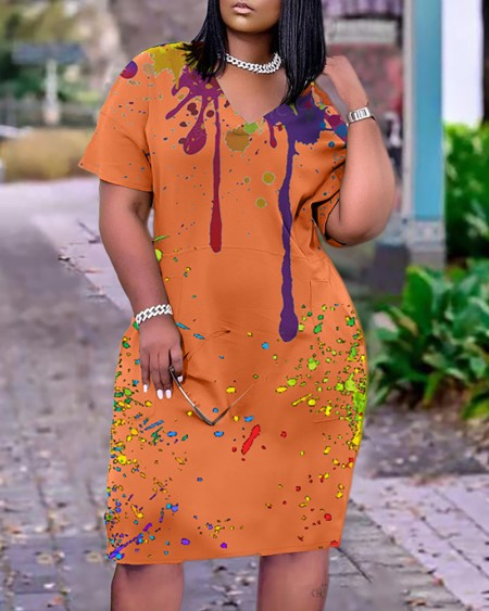 Colorblock Short Sleeve Pocket Design Casual Dress