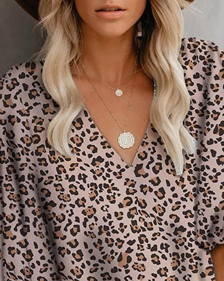 Cheetah Print Lantern Sleeve V-Neck Top