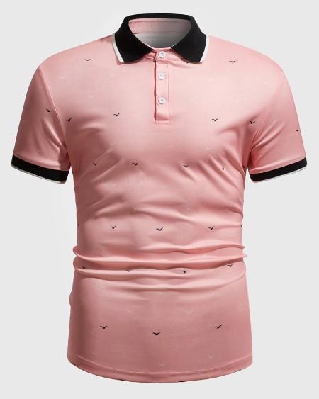 Mens All Over Print Bird Short Sleeve Button Up Polo Shirt