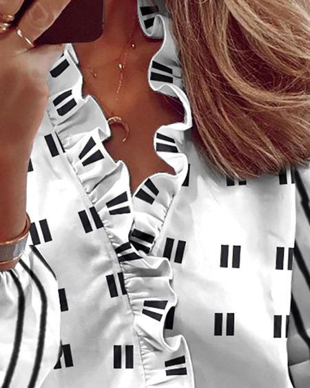 Polka Dot Print Ruffle Hem Long Sleeve Blouse