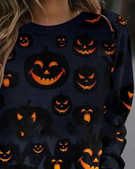 Halloween Long Sleeve Pumpkin Print Sweatshirt