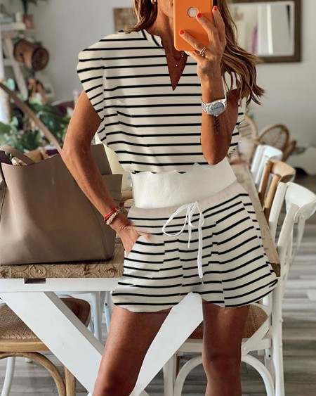 Striped Print Top & Drawstring Pocket Design Shorts Set