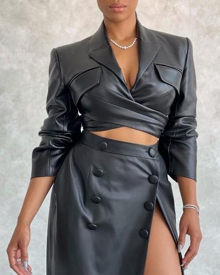 PU Leather Blazer Coat & High Slit Maxi Skirt Set