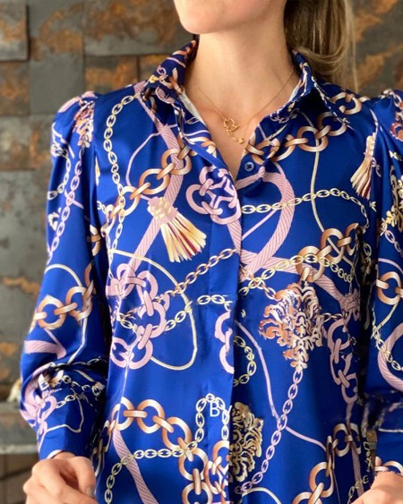 Chain Print Puff Sleeve Button Up Top