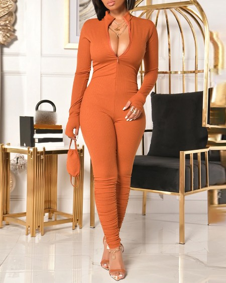 Zipper Design Long Sleeve Ruched Jumpsuit With Face Mask