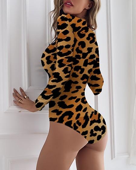 Leopard Print Long Sleeve Romper Without Socks