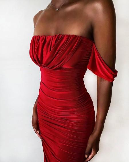 Off Shoulder Ruched Velvet Party Dress