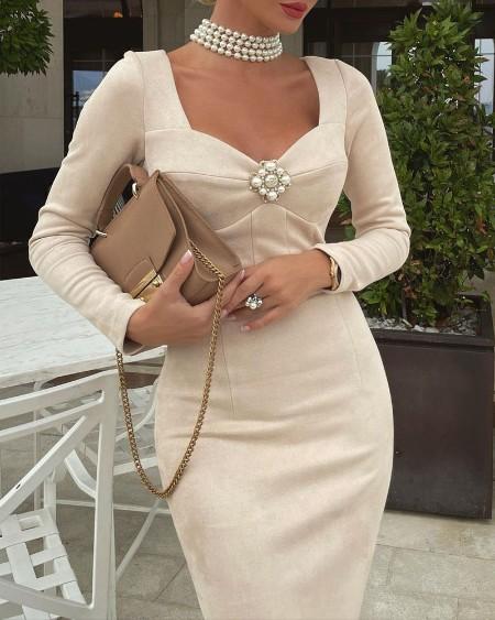Long Sleeve Sweetheart Neck Skinny Dress
