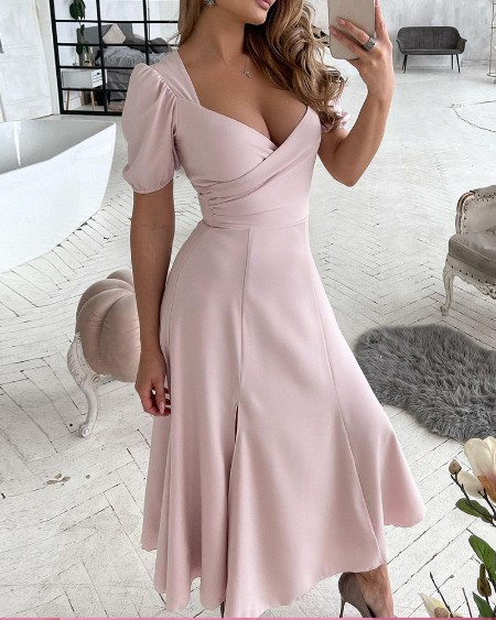 V-Neck Zipper Slit Backless Dress