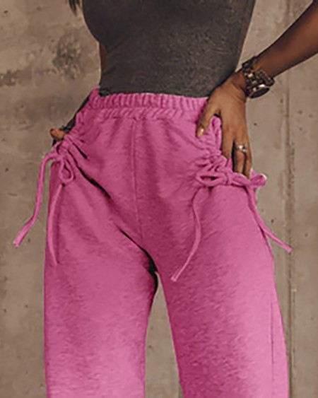 Ombre Colorblock Drawstring Ruched Casual Pants