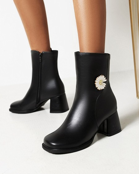 Womens Vintage Daisy Decoration Square Toe High Chunky Heel Booties