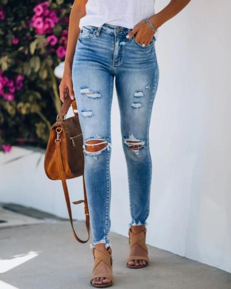 Ripped Cutout Fringe Hem Casual Jeans